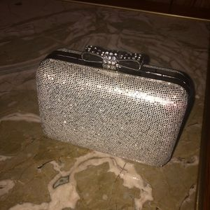 La regale silver sparkle crossbody/ clutch